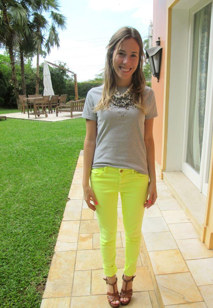 look calça verde limão - Pesquisa Google