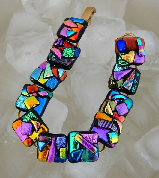 CRAZY COLOURS, Dichroic Glass Bracelet - by dichroiccreations
