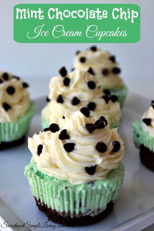 Mint Chocolate Chip Ice Cream Cupcakes Recipe!