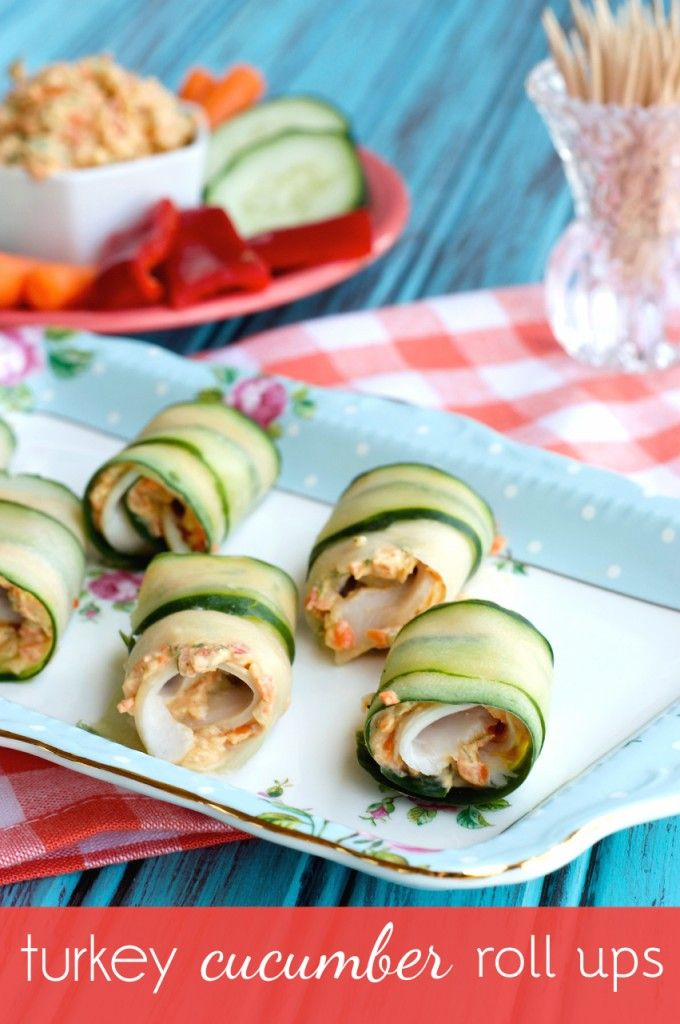 Easy appetizer or snack, these turkey cucumber roll ups are the perfect bite!
