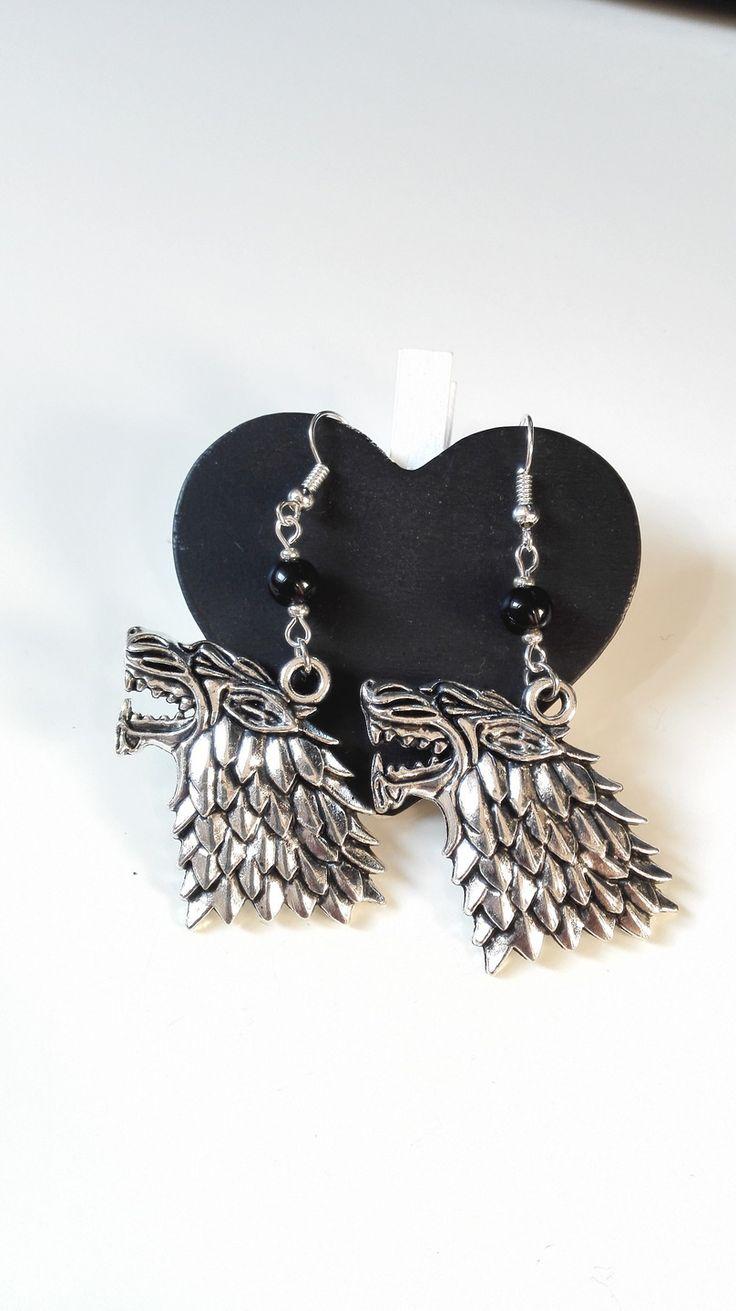 Boucles d'oreilles Lions famille Stark Game Of Thrones argentées geek : Boucles d'oreille par miss-perles