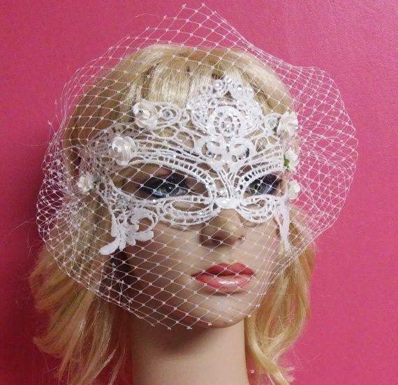 White Bridal Mask, Bridal Mask With Birdcage Veil Blusher,White Flowers Crystals Bridal mask