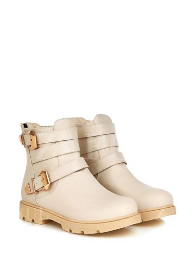 Metal Buckles Solid Color Short Boots OFF-WHITE: Boots | ZAFUL