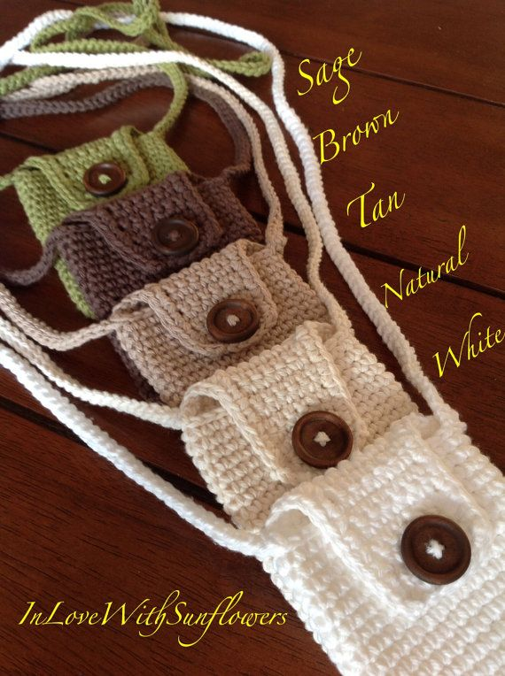 Cell phone purse / Crochet cell phone case by InLoveWithSunflowers