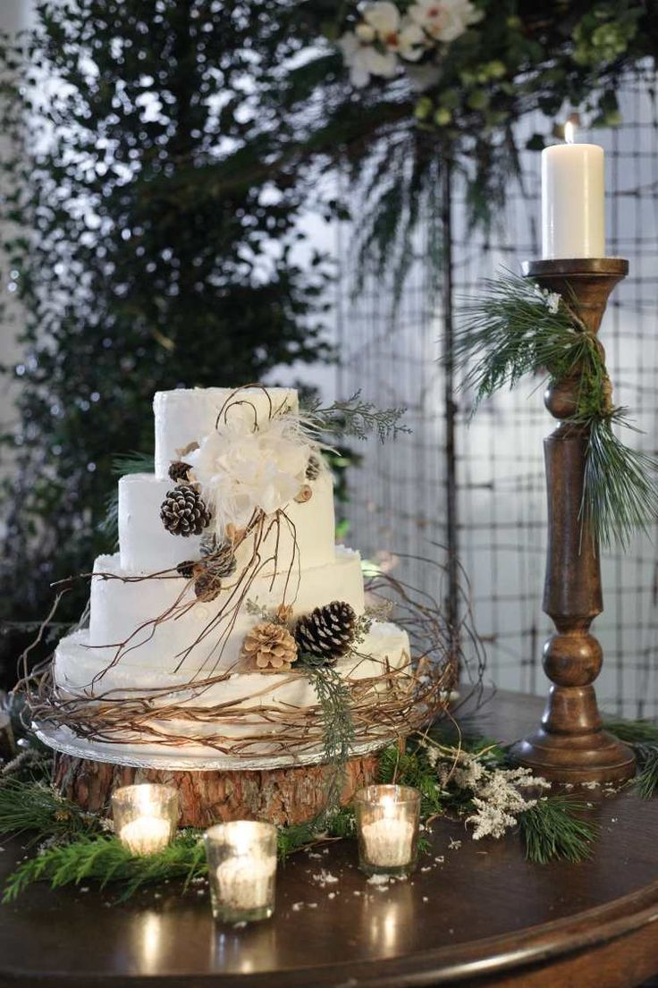 un gâteau de mariage blanc décoré de pommes de pin et branches décoratives