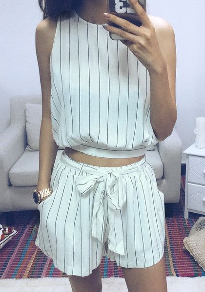 Add a nautical feel to your summer look by sporting this breezy striped shorts co-ord set.