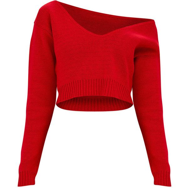 Red Off The Shoulder Crop Knitted Jumper (£19) ❤ liked on Polyvore featuring tops, sweaters, red top, off the shoulder sweater, red cropped sweater, off-the-shoulder crop tops and off shoulder sweater