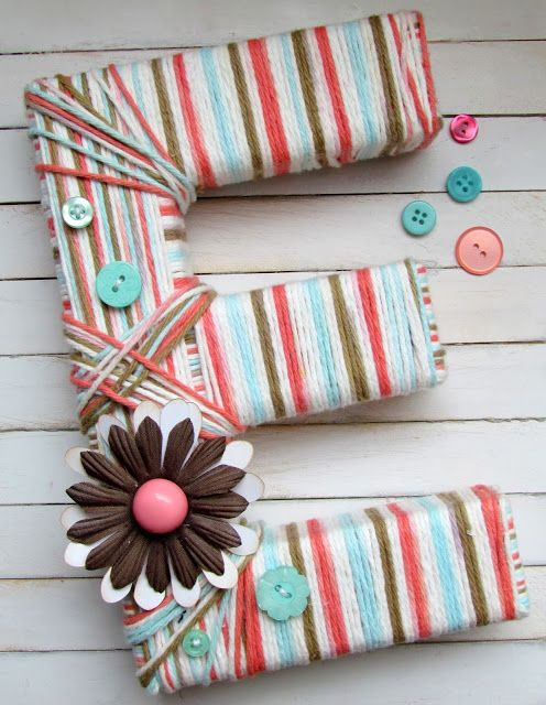 Ribbons & Glue: Yarn Wrapped Letter...