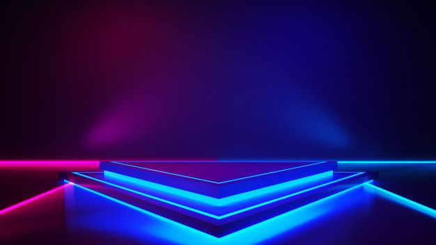 Triangle Stage With Smoke And Purple Neon Light Light Background