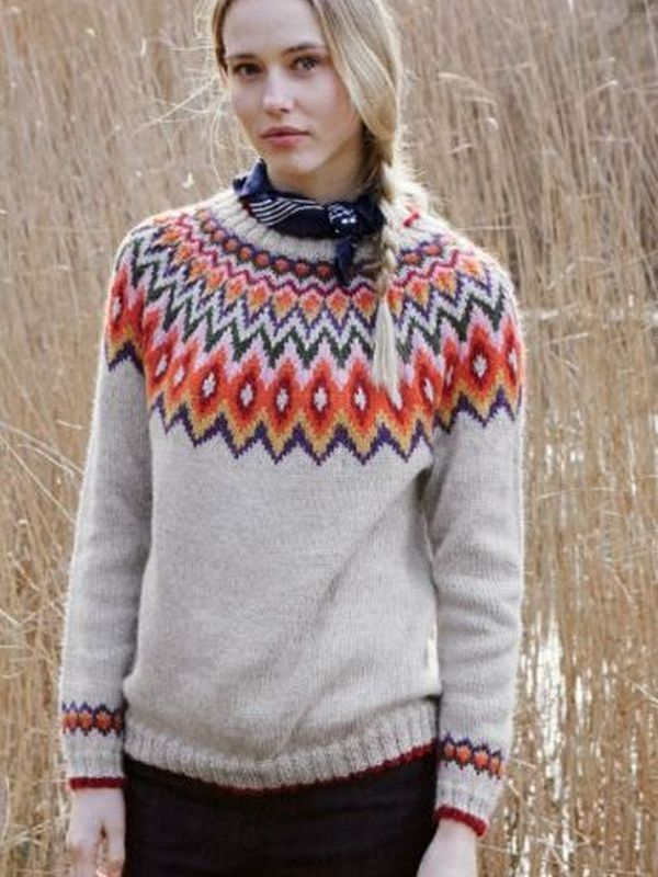 Nordic inspired fair isle yoke sweater #knitting pattern in the Debbie  Bliss Aymara collection: #knitwear #fashion