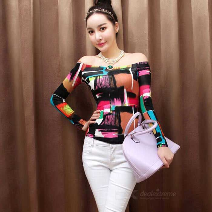 Women's Korean Style Cotton Blended Printing Long-Sleeve Off Shoulders Top - Multicolor (L)  US$10.93