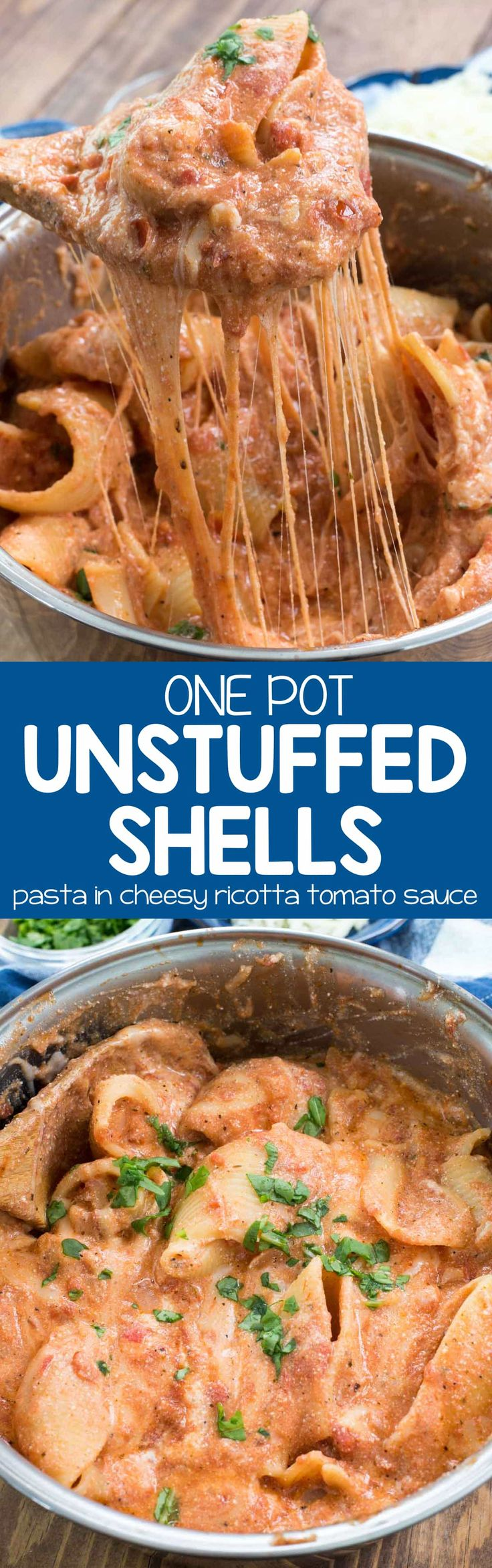 One Pot Unstuffed Shells - this easy stuffed shell recipe is all made in one pot without all the extra work! It's a great weeknight meal and everyone loves it!