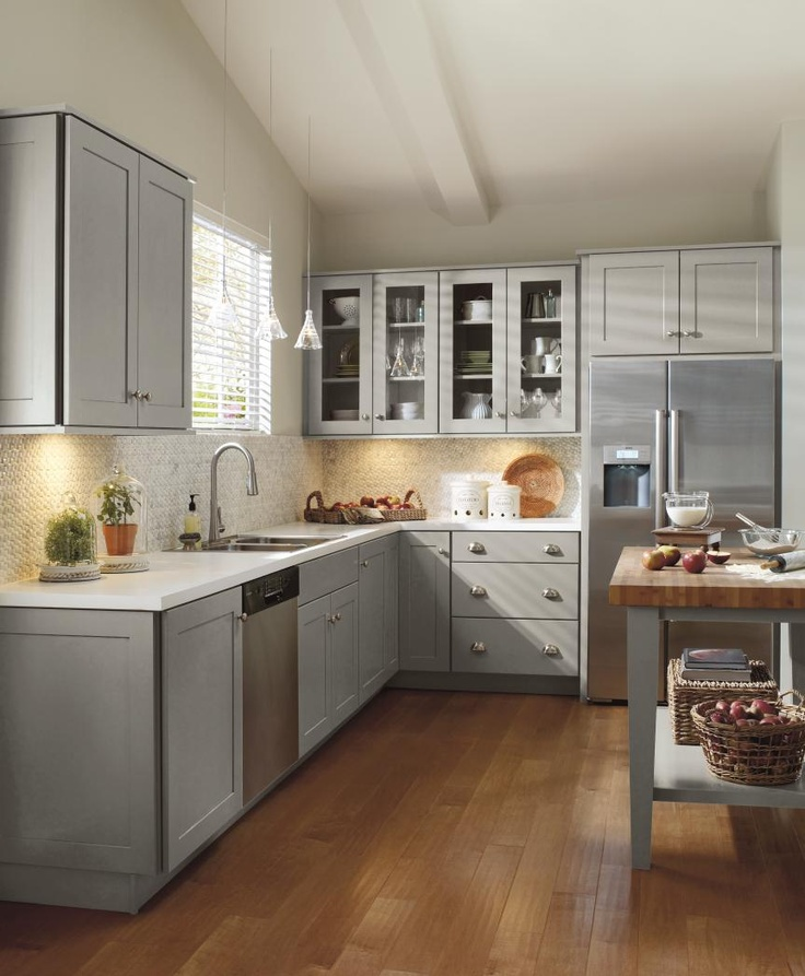 Classic shaker-style cabinetry doesn't always have to be white. Spruce up this timeless cabinet style with Juniper Berry, from Schrock Cabinetry, a cool, refreshing blue-grey cabinet finish. http://www.schrock.com/