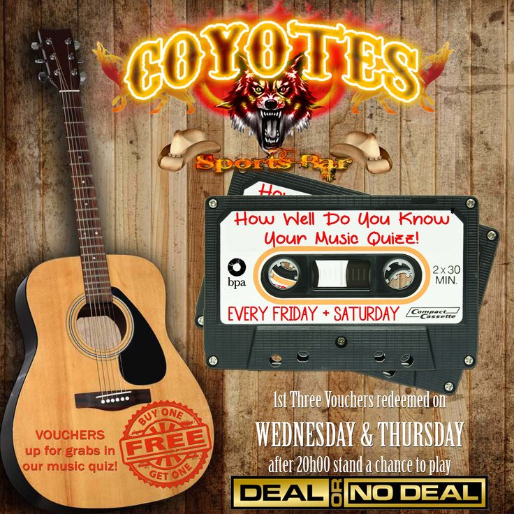Come prove your #music smarts and #WIN every #Friday and #Saturday night @CoyotesMargate! http://buff.ly/1t5NZfH