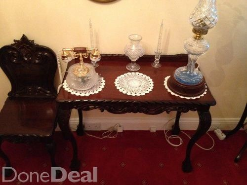 Ornate Hall Table and Matching Chair