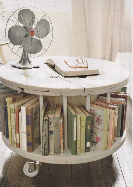 """I've always thought of these cable spools as being """"college furniture"""", but this is really cool!  If I could find a tall enough one, I could convert one into a craft table."""
