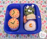 Clock bento for end of daylight savings! Goodbyn Small Meal and Dipper Set lunchbox, alphabet cutters and panda picks all available from www.thelunchboxqueen.co.nz