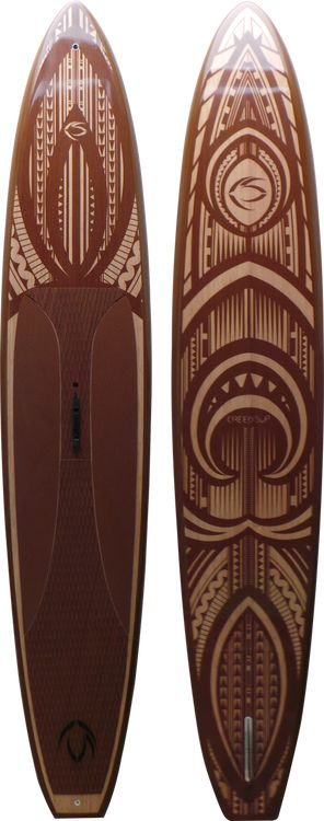 "Hono Elite 12'6"" Race Stand Up Paddle Board - Bamboo Veneer 