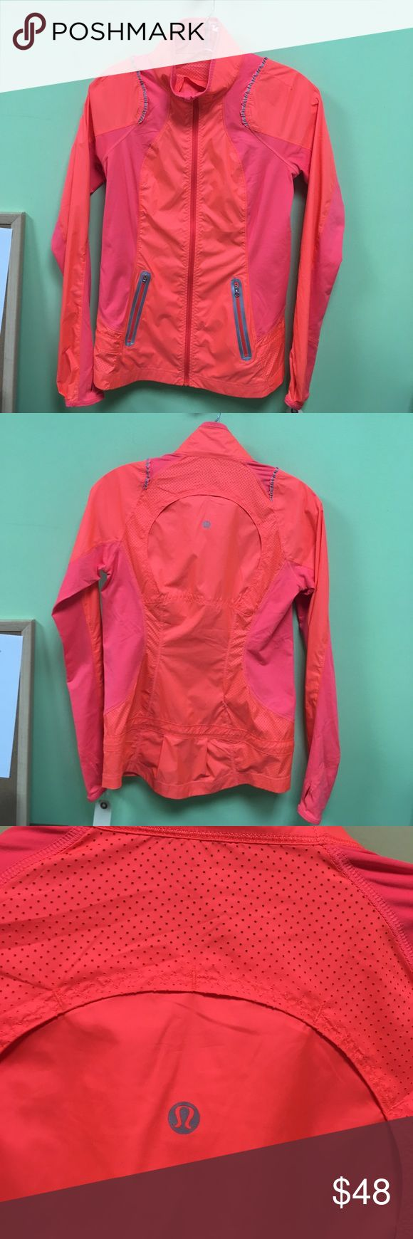 Lululemon neon orange windbreaker sz 4 50860 Orange zip up jacket sz 4 in excellent used condition lululemon athletica Jackets & Coats