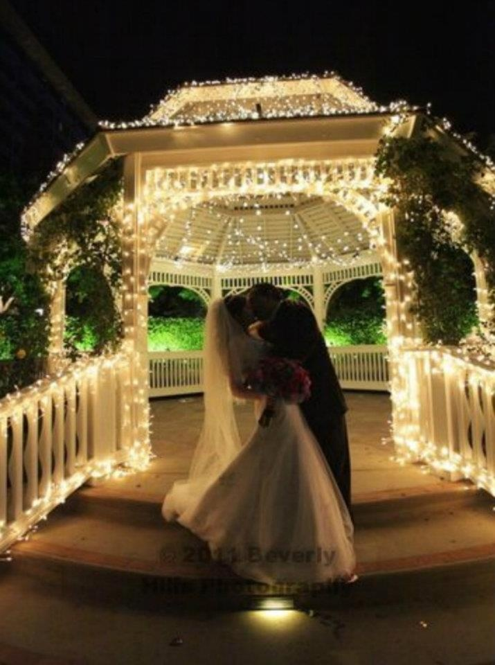 Add icicle lights to a gazebo for
