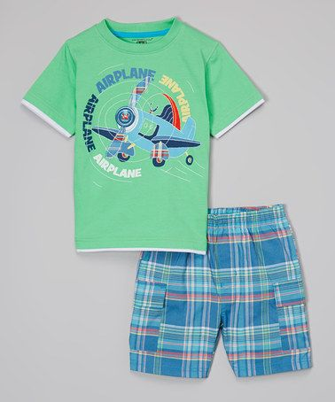 Look at this #zulilyfind! Green Airplane Tee & Blue Plaid Shorts - Infant, Toddler & Boys by Kids Headquarters #zulilyfinds