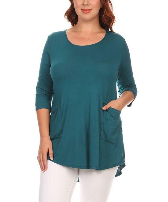 Hunter Green Side Pocket Knit Top - Plus
