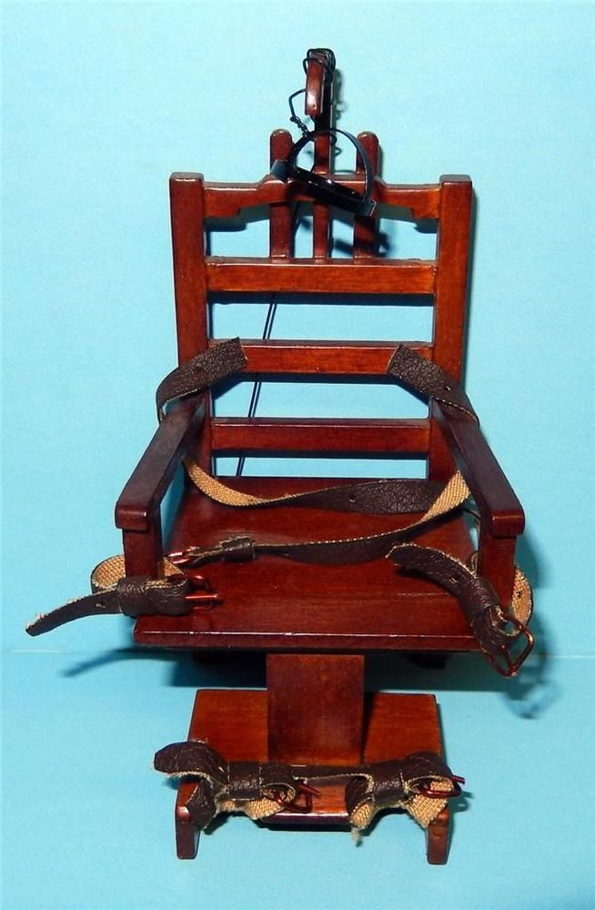 Old Sparky Dollhouse Miniature Wooden Electric Chair 1:12 Scale - Whaaaaaa ... a Dollhouse Electric Chair!! Amazing :-)