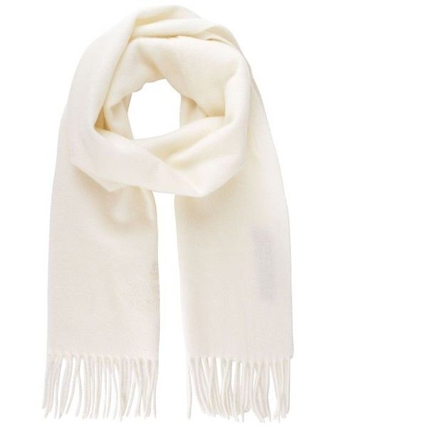 Vivienne Westwood Accessories Orb Tassel Scarf found on Polyvore featuring accessories, scarves, white, wool scarves, wool shawl, white scarves, white shawl and tassel scarves