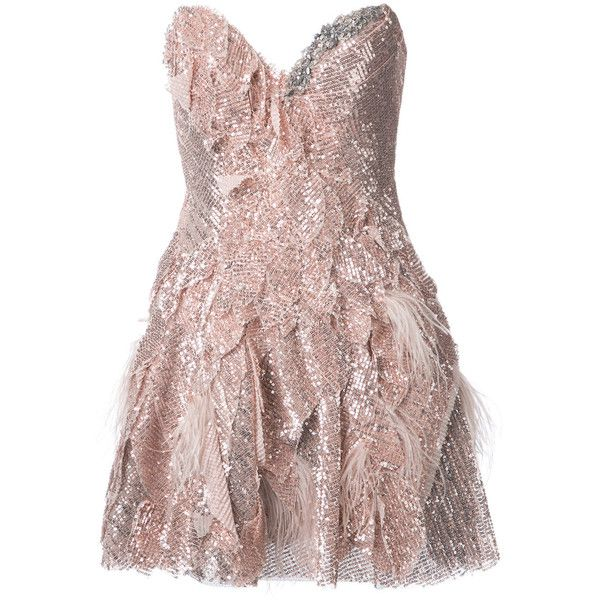 Trash Couture Strapless Full Sequin Mini Dress (€6.810) ❤ liked on Polyvore featuring dresses, mini dress, short strapless cocktail dress, brown sequin dress, strapless sequin dress and strapless dresses