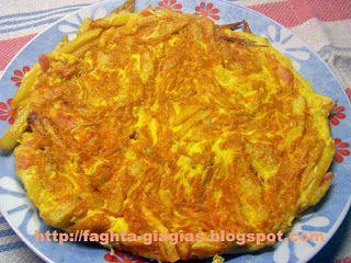Ομελέτα με πατάτες τηγανιτές και τυριά