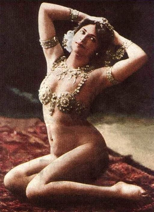 Mata Hari in Paris c.1910 She was an exotic dancer from the Netherlands who gained much fame in France as a dancer. During the First World War she was arrested on charges of espionage and executed by the French by firing squad. Evidence of her actual guilt is frequently questioned.