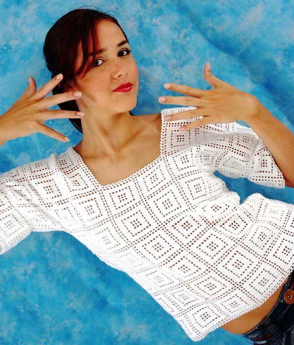 Легкий белый пуловер в греческом стиле | Вязание спицами и крючком – Азбука вязания