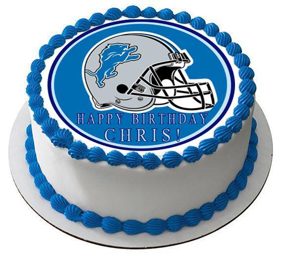 Detroit Lions Edible Birthday Cake Topper