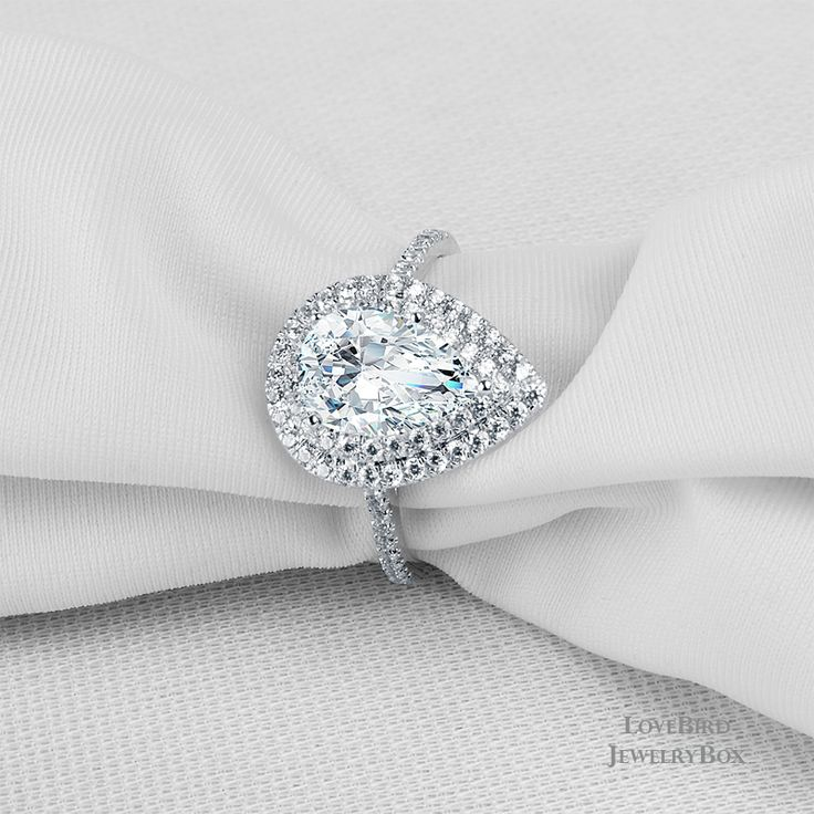 1.8ct. Pear Cut Double Halo 925 Sterling Silver Cubic Zirconia Engagement Ring - CZ, Moissanite & Simulated