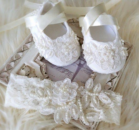 Christening shoes, Ivory lace headband