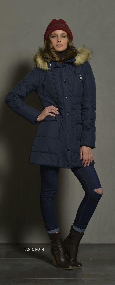 Ladies' long jacket with fake fur on inside collar & fake fur around hood. www.biston.gr