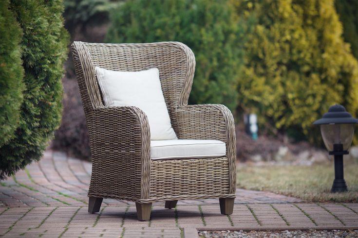 Naturalnie szary fotel rattanowy - kolonialny - duży - Misoto