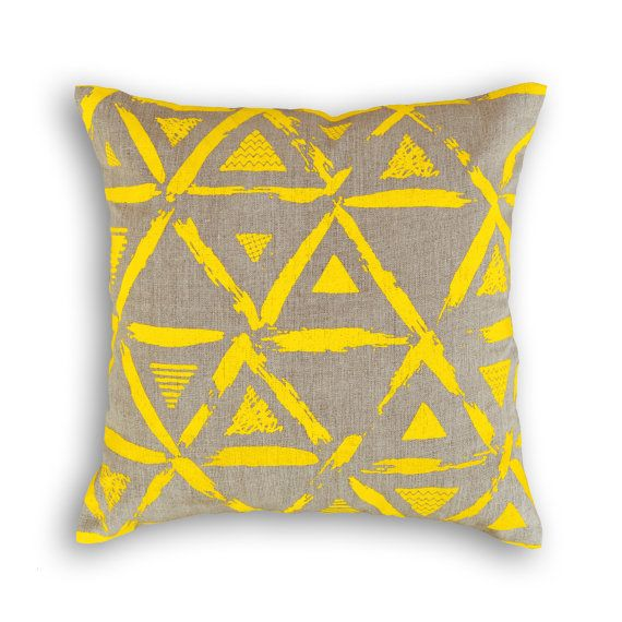 Yellow pillow cover linen pillow cover geometrical by VLiving