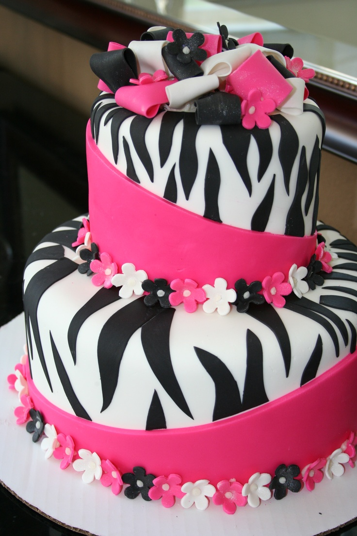 Pink and Black Zebra cake for the girls. Birthday ...