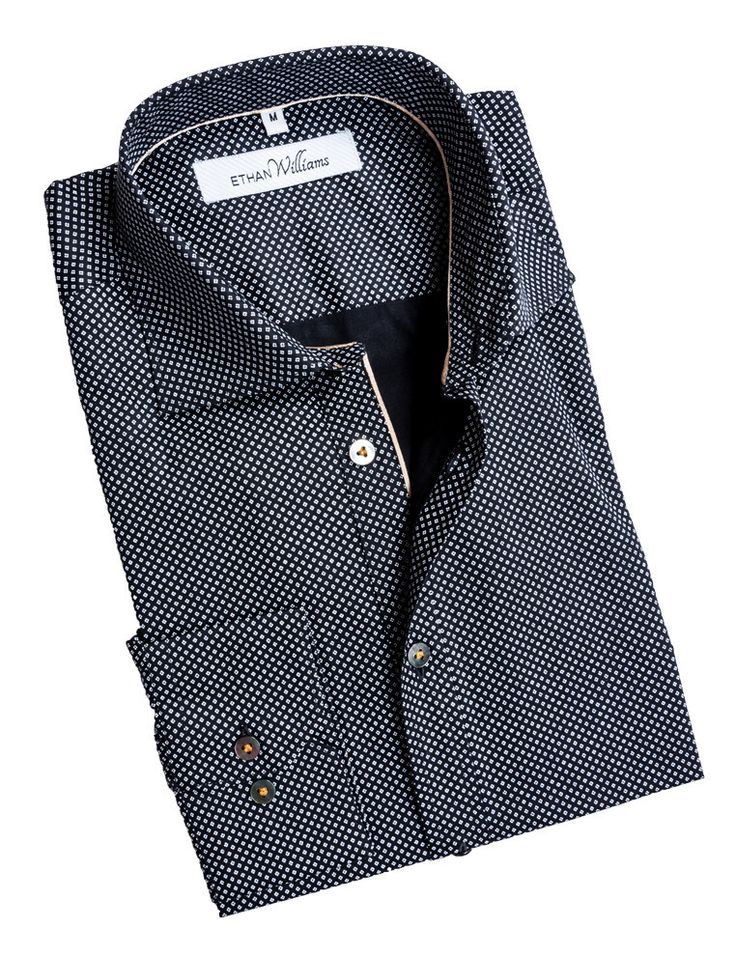 Ethan Williams Shirt with Black Geometric Print and Gold Piping Accent - Cindy