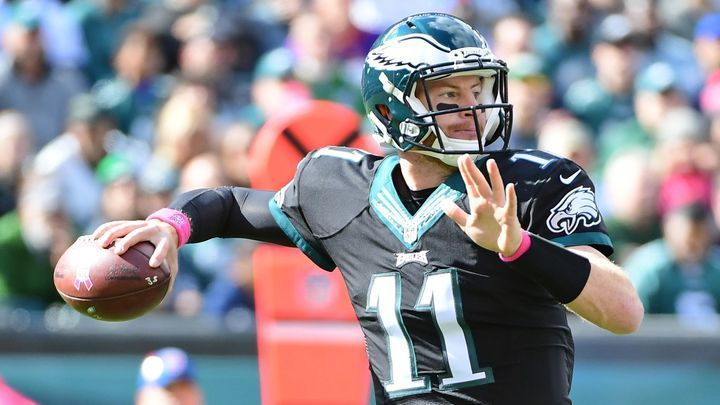 Philadelphia Eagles quarterback Carson Wentz throws a pass during the first quarter of Sunday's home game against the Minnesota Vikings at Lincoln Financial Field.