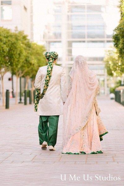 Before tying the knot, this Pakistani bride and groom take a moment to pose for some beautiful wedding portraits.