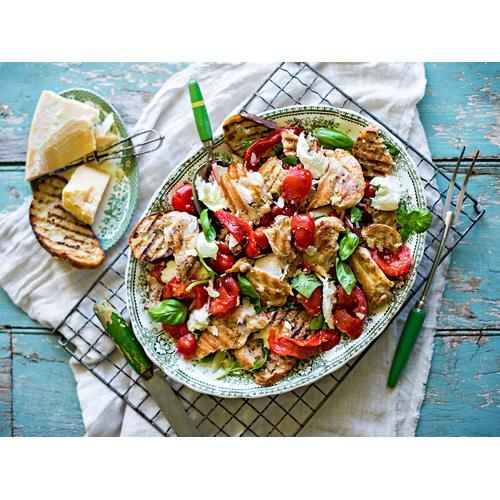 Barbecue chicken panzanella recipe - By FOOD TO LOVE, This salad is our summer favourite and a fantastic way to use up tomatoes and dried-up bread. It's even better as a main meal with chargrilled meats like these barbecued chicken thighs. Photographs by Jani Shepherd and styling by Fiona Hugues; Gatherum Collectif.