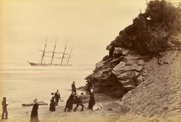 "historicaltimes: "" Wreck of the ship George Roper, Point Lonsdale, by Fred Kruger, 1883 Keep reading """