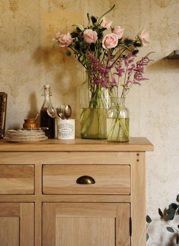 Flowers, Oak Furniture, Roses, Eucalyptus, Sideboard, Natural Oak, Oak  Furniture Photo Gallery
