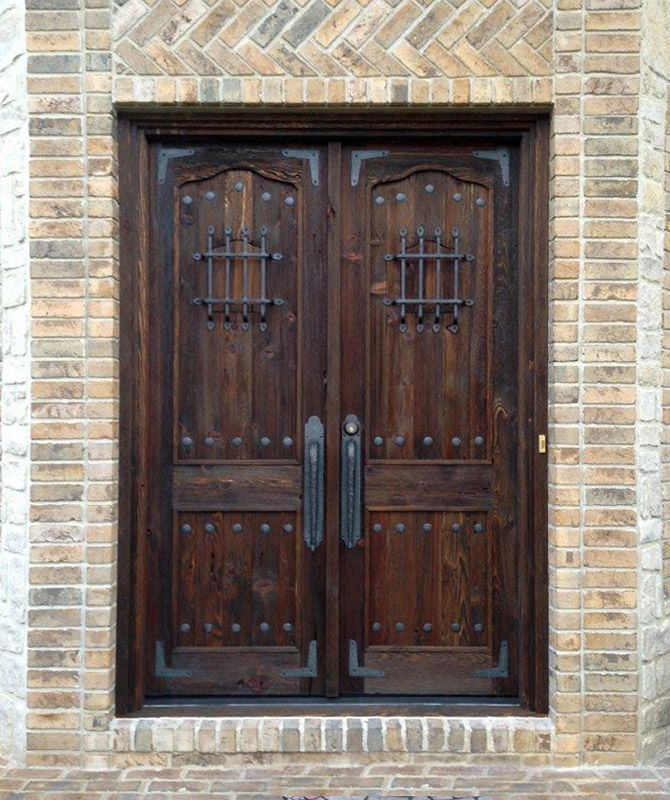 Double doors with speakeasy 16th cen entry doors for Double wood doors with glass