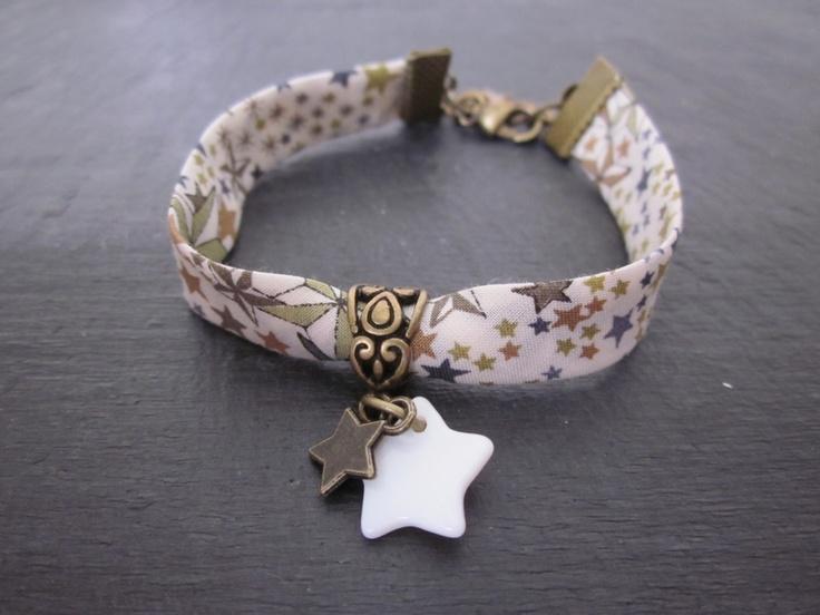 Bracelet en biais liberty adelajda et ses étoiles*6*.