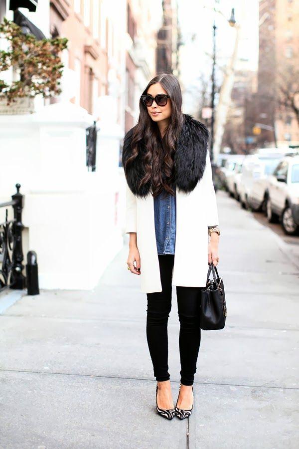 fur collar outfit
