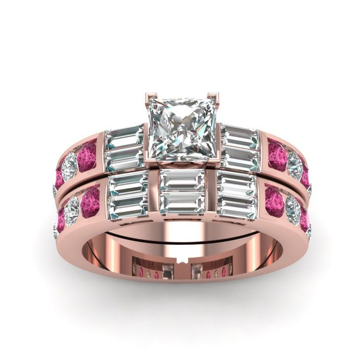 2.5 Ct. Princess Cut And Baguette Diamond Bridal Set Expensive Engagement Rings with Pink Sapphire in 18K Rose Gold exclusively styled by Fascinating Diamonds