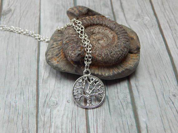 Tree of Life Pendant  Silver Jewellery  Plant Necklace